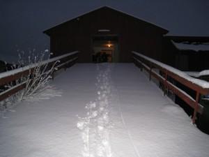 Lageret vårt på Ås, en vintermorgen